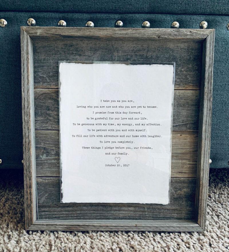 11X14 Rustic Planked Barn Wood Frame - Typewriter