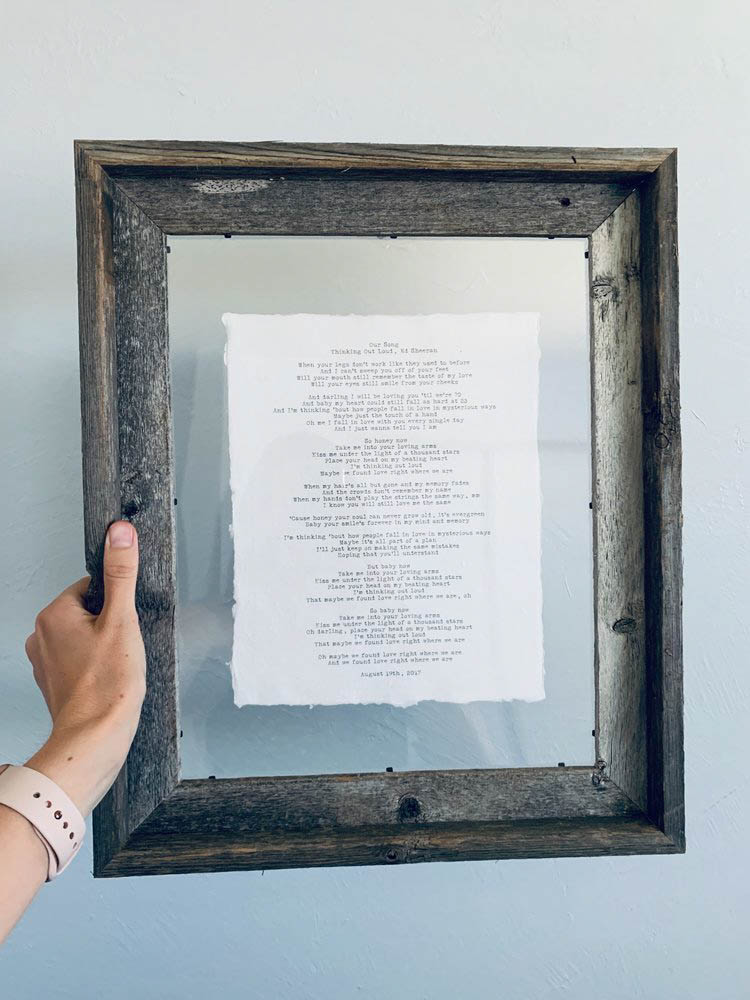 11x14 Rustic Reclaimed Barn Wood Frame- Normal Speed - Typewriter font