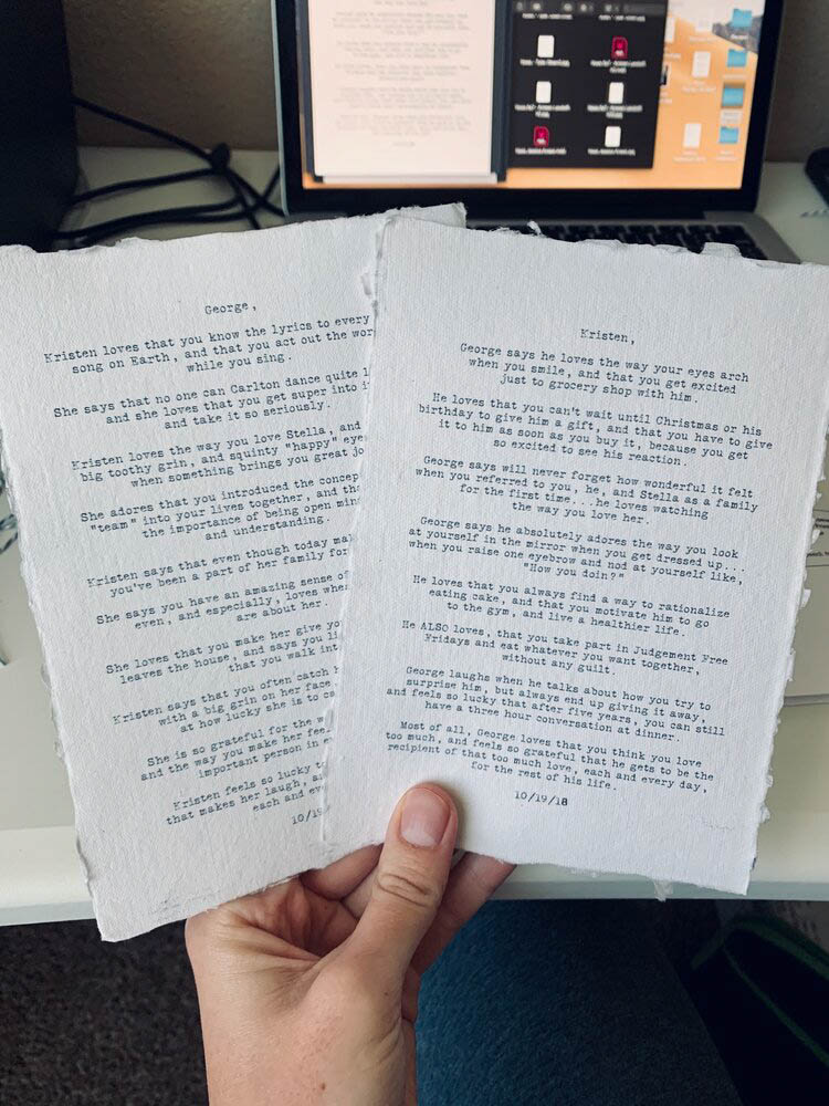 Custom Text on 5x7 Cotton Paper 1