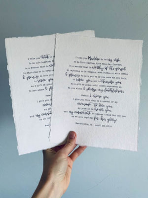 Mixed Typewriter Front & Calligraphy Wedding Vows 1