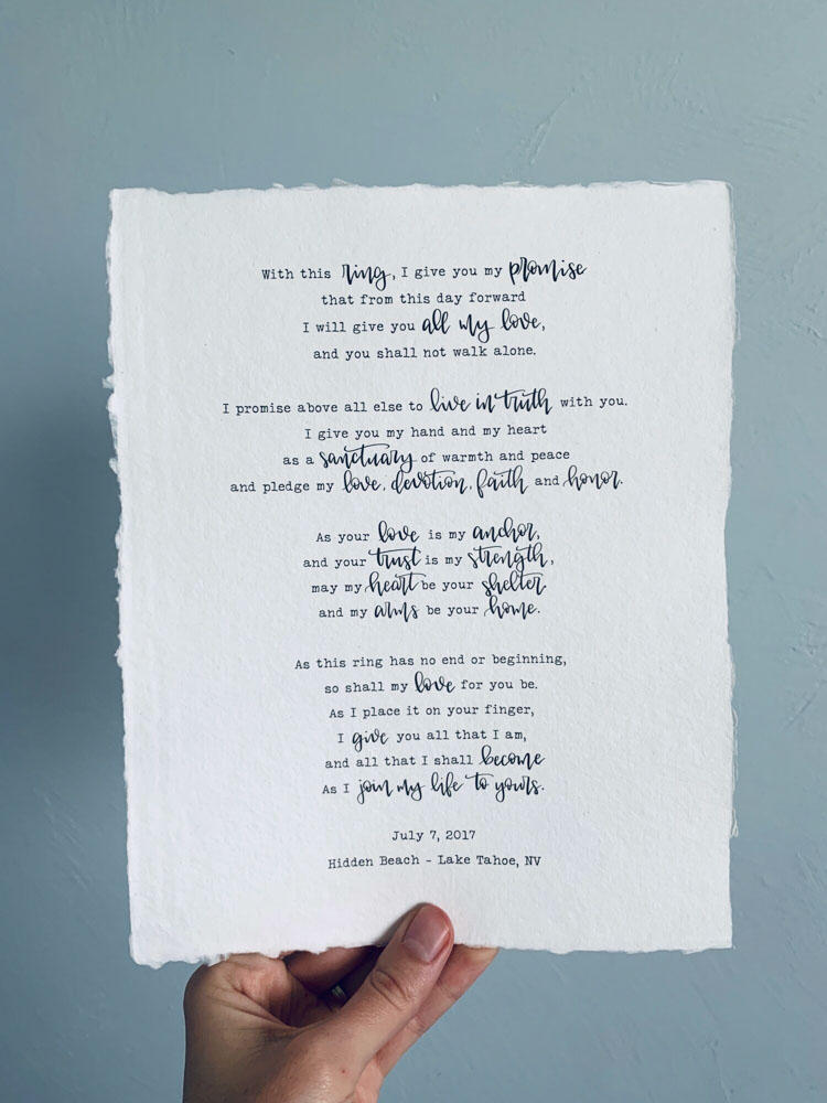 Reverie-Products-Wedding Vows-Normal-Speed-Type-Calligraphy