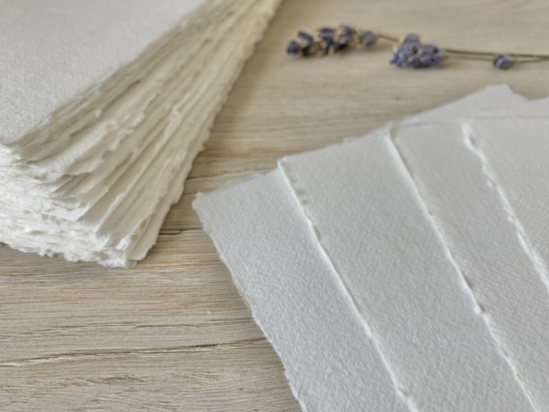 5x7-inch Handmade Cotton Paper with Deckled Edges