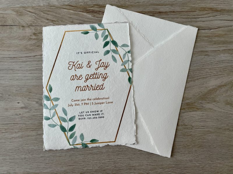wedding invitation printed on handmade cotton paper with a7 envelope
