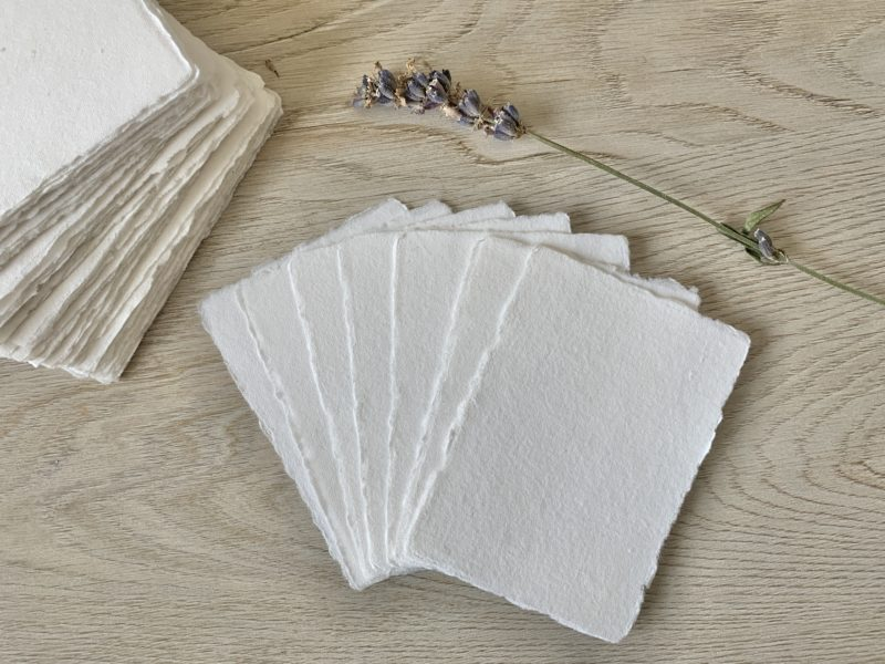 2.5x3.5 White Cotton Rag Paper with Naturally Deckled Edges