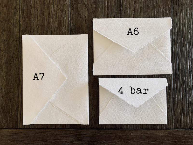 various cotton rag envelope sizes