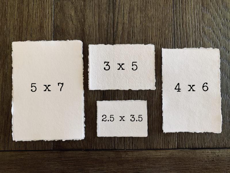 various wedding suite sizes of cotton paper