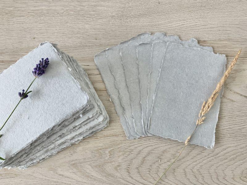 wedding escort cards handmade cotton paper light grey