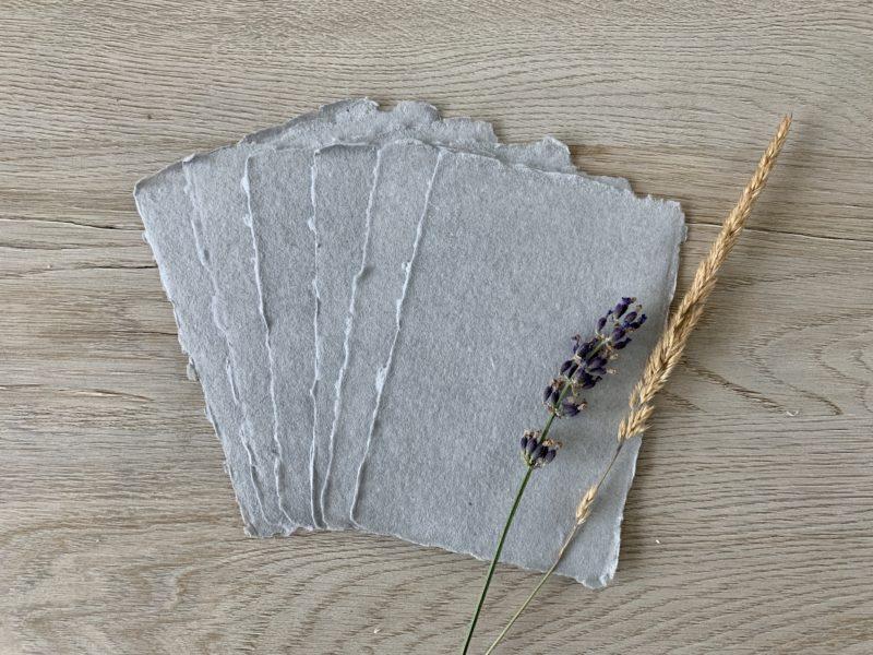 handmade deckled edge cotton paper light grey