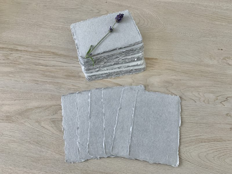 3x5-inch light grey handmade cotton paper