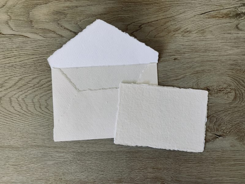 3x5 wedding response cards handmade cotton paper and 4 bar envelope with deckled edges