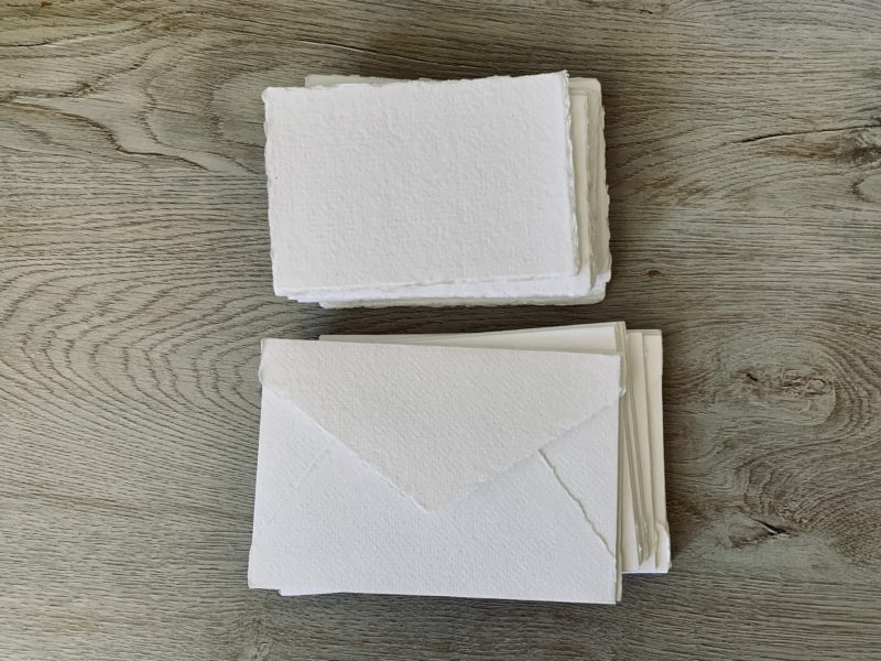 handmade 3x5 cotton paper and 4 bar envelopes