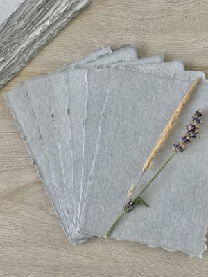 Deckled Edge Grey Cotton Rag Paper