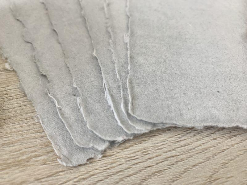 deckle edge handmade cotton rag paper in light grey
