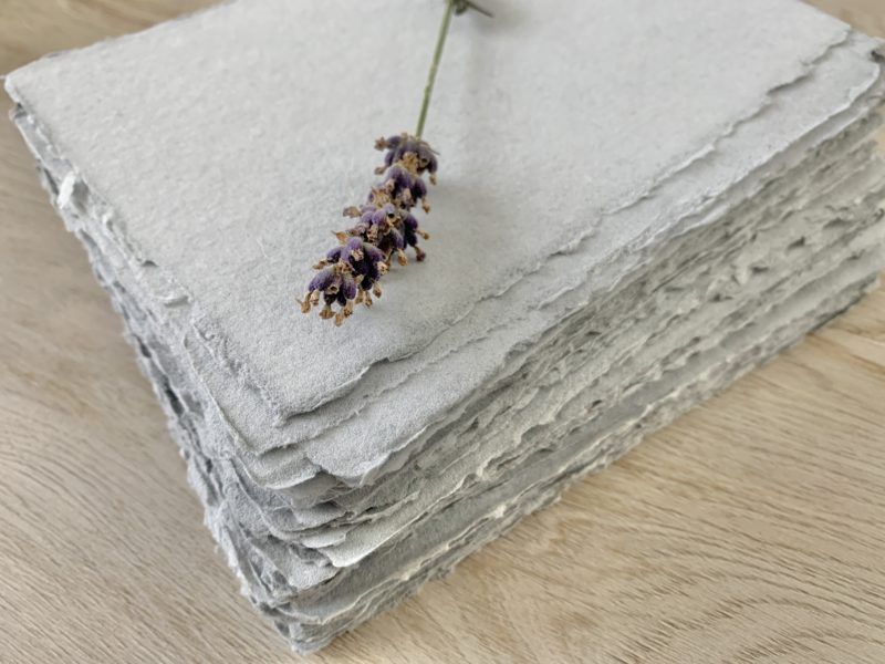light grey handmade cotton paper