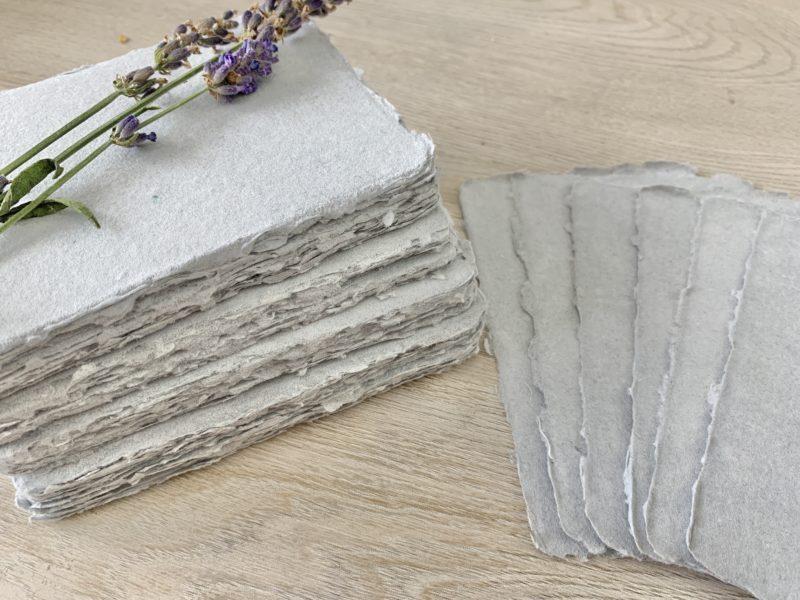 deckle edge cotton paper light grey